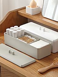 cheap -Simple Cosmetic Storage Box Three Grid Jewelry Dustproof Cotton Swab Desktop Finishing