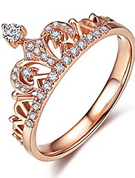cheap -18k rose gold plated clear exquisite princess crown tiara design tiny cubic zirconia cz diamond accented fashion ring for women