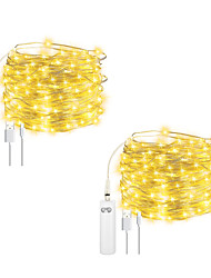 cheap -4pcs 2pcs 10m String Lights 100 LEDs EL Warm White Halloween Christmas Waterproof Outdoor Decorative Batteries Powered Rechargable