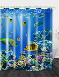cheap -Coral Fish Digital Printing Shower Curtains  Hooks Modern Polyester New Design