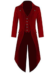 cheap -men's twill steampunk tailcoat jacket goth victorian coat/trench (5xl, red)