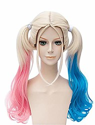 "cheap -50cm/19.7"" women long blonde wig with two curly ponytails pink and blue for harley quinn anime cosplay multi-color lolita hair wigs"