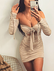 cheap -Women's Sheath Dress Short Mini Dress - Long Sleeve Solid Color Bow Ruched Zipper Summer Fall Strapless Casual Sexy Club 2020 Light Brown S M L