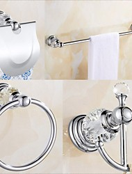 cheap -Silver Bathroom Hardware Accessory Set Includes Towel Bar, Robe Hook, Towel Holder, Toilet Paper Holder, Stainless Steel - for Home and Hotel bathroom Wall Mounted