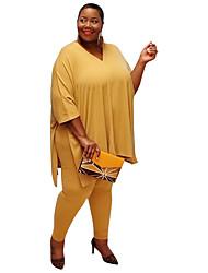 cheap -Women's Solid Color Plain Two Piece Set T shirt Pant Tops