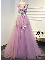 cheap -A-Line Empire Floral Engagement Formal Evening Dress Illusion Neck Sleeveless Floor Length Lace Tulle with Pleats Appliques 2021