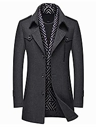 cheap -men's single breasted winter warm mid-length woolen coat business thick jacket with free detachable soft touch wool scarf grey