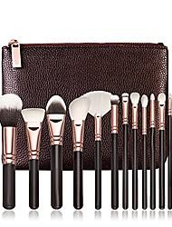 cheap -makeup brushes set,  foundation blush blending eyeshadow eyeliner lip cosmetic tool kit with pu leather package (15pc black brushes set)