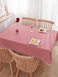 cheap -Pastoral Art Plaid Coffee Table Tablecloth Fabric Cotton And Linen Small Fresh Round Table Cloth Square Red Table Cloth