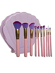 cheap -10 pcs mermaid blush cosmetic brushes kit powder brushes with shell cosmetic bag (pink gold)