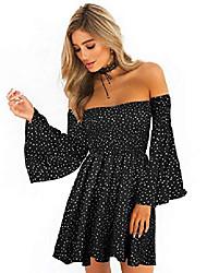 cheap -women's dress summer floral long sleeve off shoulder casual mini dresses (polka dot-bk, s)