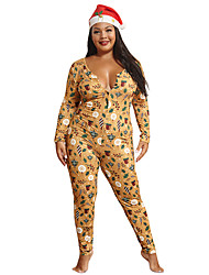 cheap -Women's Active Yellow Jumpsuit Abstract Print