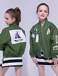 cheap -Kids Girls' Jacket & Coat Green Letter Cotton School Active Streetwear
