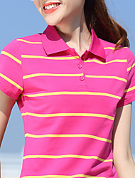 cheap -Women's Golf Polo Shirts Short Sleeve Breathable Quick Dry Soft Sports Outdoor Autumn / Fall Spring Summer Cotton Stripes Purple Red Fuchsia Green Royal Blue / Stretchy