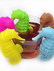 cheap -sea horse silicone tea infuser loose leaf strainer cup steeper filter(5 pcs-set)