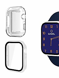 cheap -gadol tempered glass case compatible for apple watch series 1, series 2, series 3, series 4 & series 5 (free clear case included!) (40mm - white)