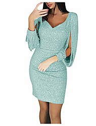 cheap -kangma sparkly glitzy sequin tassel long sleeve sequin bodycon evening party cocktail dresses for women (2,light green)