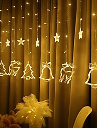 cheap -2.5M Star Deer Bell Christmas Tree LED Curtain Lights EU Plug Fairy Tale String Lights Living Room Outdoor Christmas Wedding Decoration Lights