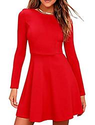 cheap -womens long sleeve casual slim fit dress a-line simple dress medium length skirt red