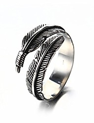 cheap -unisex men's women's 316l stainless steel ring vintage feather wrap black silver