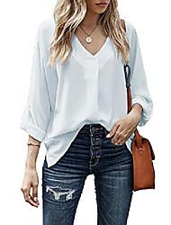 cheap -women tab sleeve work flowy shirt v neck high low blouse tops 7231