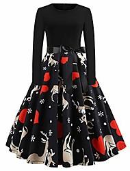 cheap -ladies dress women long sleeve christmas snow print vintage flare retro 1920s midi dress black