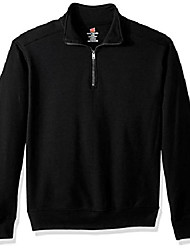 cheap -men's nano quarter-zip fleece jacket, black, medium