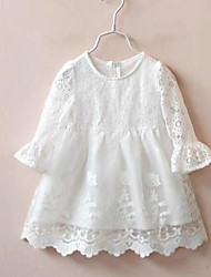 cheap -Kids Little Girls' Dress White Solid Colored Lace Trims White Knee-length Long Sleeve Active Cute Dresses Children's Day Slim Loose