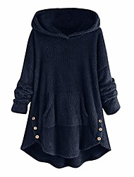 cheap -womens coat side button fluffy tops hooded loose warm pullover sweater plus size faux fur coats loose sweater navy