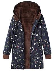 cheap -Women's Print Basic Fall & Winter Coat Long Daily Long Sleeve Cotton Coat Tops Blue