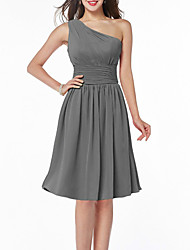 cheap -A-Line Flirty Minimalist Homecoming Cocktail Party Dress One Shoulder Sleeveless Knee Length Chiffon with Sleek Sash / Ribbon 2020