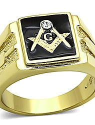 cheap -men's stainless steel 14k gold ion plated crystal masonic lodge freemason ring size 12