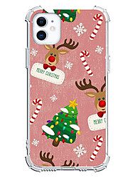 cheap -Christmas Elk Unique Design Case For Apple iPhone 12 iPhone 12 Mini iPhone 12 Pro Max Custom Case Pink Case Shockproof Back Cover