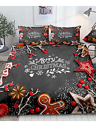cheap -Christmas Gingerbread Man Print 3-Piece Duvet Cover Set Hotel Bedding Sets Comforter Cover with Soft Lightweight Microfiber For Holiday Decoration(Include 1 Duvet Cover and 1or 2 Pillowcases)