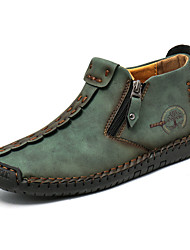 cheap -mens ankle boots leather casual loafers shoes lace up ankles boots for men hand stitching outdoor working shoes booties (velvet warm green, numeric_9)