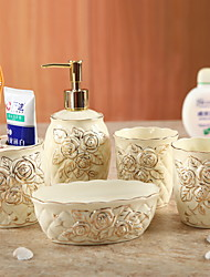 cheap -Bathroom Accessories Set, 5 Piece Ceramic Complete Bathroom Set for Bath Decor, Includes Toothbrush Holder, Soap Dispenser, Soap Dish, 2 Tumbler  Holiday Bathroom Decoration Gift Idea