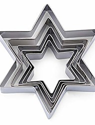cheap -star of david jewish cookie cutter set-5 pcs stainless steel six-pointed biscuit molds fondant cake cookie cutter set pastry mold for linzer and 3d christmas tree cookies