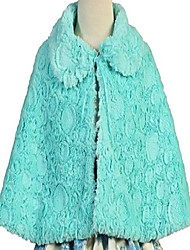 cheap -little girls lovely collared faux fur wrap flower girls cape coat (40ag04) mint xs