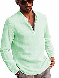 cheap -men's linen long sleeve henley shirt yoga tops casual fashion cotton t-shirt blouse (green, m)