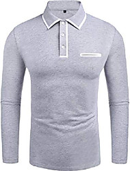 cheap -men's polo shirts fashion solid big and tall 2018 stylish contrast color regular-fit plaid long sleeve jersey polo collar t shirt (gray xxl)
