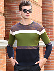 cheap -Men's Cardigan Pullover Sweater Knitted Braided Striped Color Block Stylish 80' Acrylic Fibers Long Sleeve Sweater Cardigans Crew Neck Fall Winter Green Brown