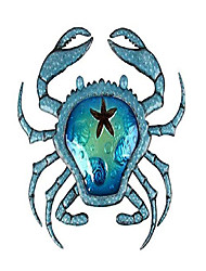 cheap -metal crab wall decor outdoor nautical hanging art blue glass decorative sculpture for pool, patio or bathroom