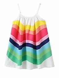 cheap -kid girl rainbow dress kid princess sleeveless spaghetti strap long maxi dresses colorful little girls summer clothes outfits (white rainbow dress, 6-7 years)