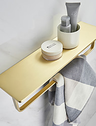 cheap -Towel Rack New Design Brass Wall Mounted Multifunction Bathroom Shelf Brushed Golden 1pc