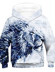 cheap -Kids Boys' Hoodie & Sweatshirt Long Sleeve 3D Animal Drawstring White Children Tops Active Children's Day