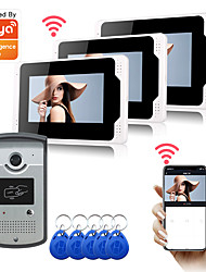 cheap -WIFI / Wired Recording 7 inch Monitor Hands-free Video Doorphone Tuya APP Remot Control RFID Unlock 1080P HD Camera with Motion Detect