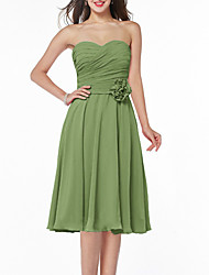 cheap -A-Line Minimalist Floral Homecoming Cocktail Party Dress Strapless Sleeveless Knee Length Chiffon with Pleats 2021