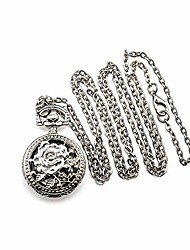 cheap -pocket watch steampunk fob watches vintage arabic numeral scale quartz pocket watch with chain (white-rose)
