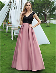 cheap -A-Line Color Block Vintage Prom Formal Evening Dress V Neck Sleeveless Floor Length Satin Sequined with Sequin 2020