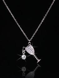 voordelige -Dames Helder Zirkonia Hangertjes ketting Monogram beker Bokaal Luxe Uniek ontwerp Modieus Messinki Zilver 50 cm Kettingen Sieraden 1pc Voor Straat Lahja